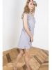 Gray crepe ruffles dress