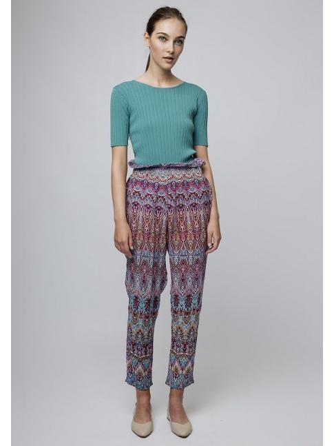 Pantalón paper bag ético multicolor