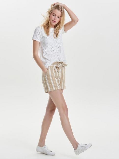 Camiseta calada Cathinka, blanca