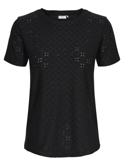 Camiseta calada Cathinka, negra